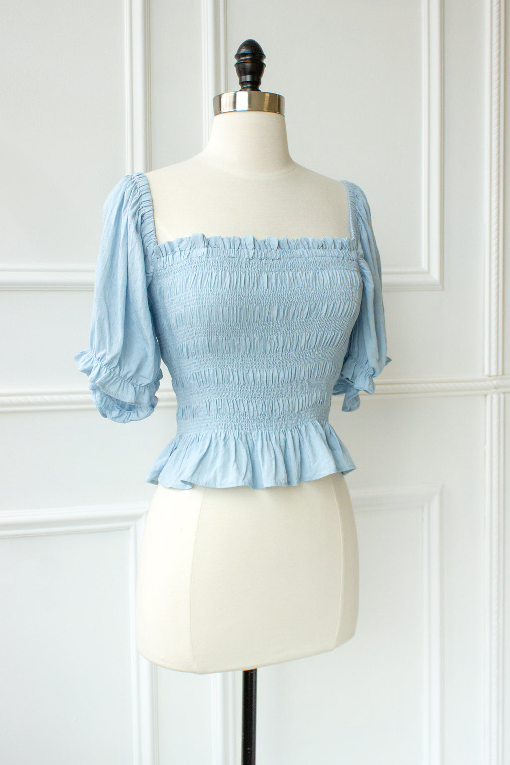 smocked top with sleeves