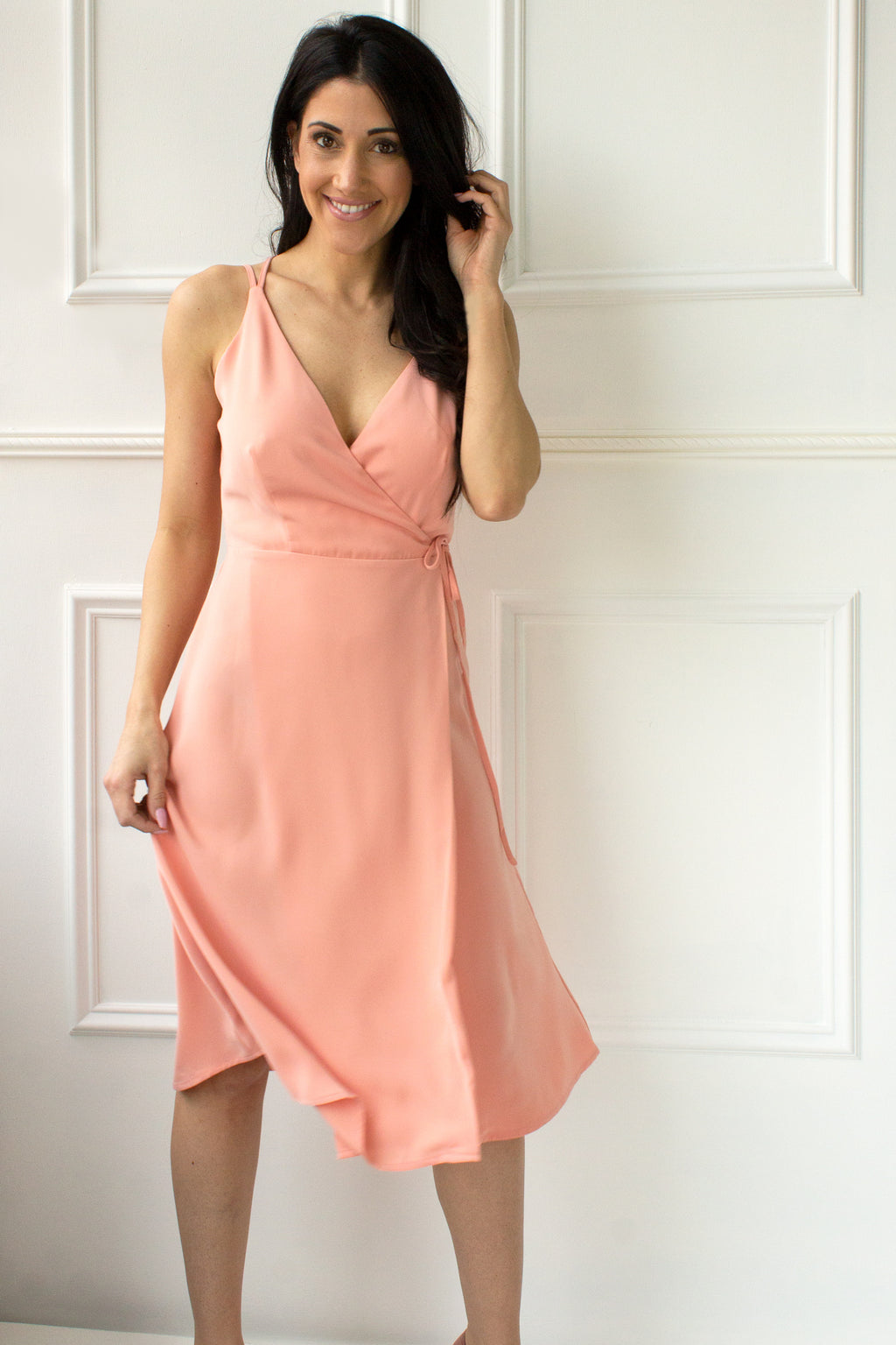 Sutton Flowy Wrap Dress - coral