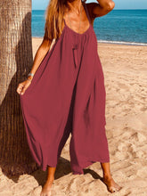 Women Casual Jumpsuits Soild Spaghettie Wide Leg Pants Jumpsuits