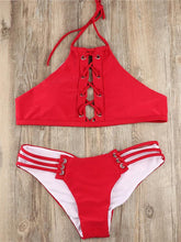 Dovechic Red Plain Lace-up Bikinis Swimwear