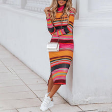 Fashion High Collar Color Striped Knit Dress