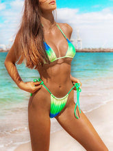Dovechic Ruched Triangle Top Lace Up Bikini Set