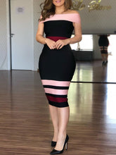 Contrast Striped Off Shoulder Sheath Midi Dress