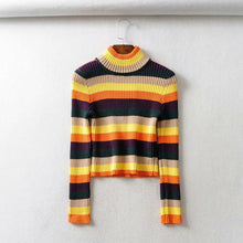 High Collar Exposed Navel Stripe Spliced Sweater