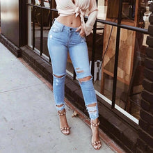 Casual Shredded Jeans Feet Pants