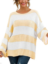 Casual Round Neck Splicing Striped Sweater