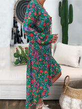 Dovechic V-neck Floral Printed Long Sleeve Maxi Dress