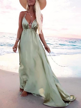 Dovechic Halter-neck Backless Waisted Maxi Dress