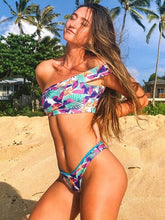 Dovechic Single Shoulder Printed Bikinis Swimwear
