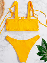 Dovechic Ruched Plain Yellow Bikini Swimsuit