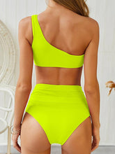 Dovechic High Waisted Plain Bikini  One Shoulder Swimsuit
