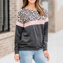 casual round neck leopard print patchwork long sleeves sweatershirt