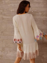 Embroidered Flared Sleeves Tasseled Mini Dress