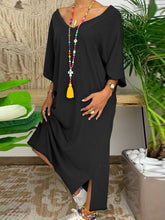Casual Solid 3/4 Sleeve V Neck Dresses