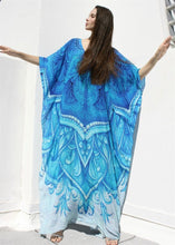 Blue and white gown  blouse robe cover-ups