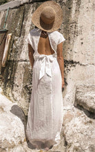 Deep V-neck halter belt white beach  maxi dress