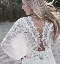 Boho White Lace Long Sleeves Mini Dress