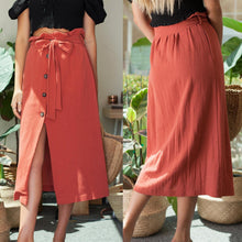 Bohemian single-breasted slit wrap-around skirt