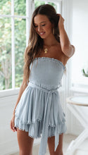 Cotton And Linen Ruffled Wrapped Off Shoulder Mini Dresses