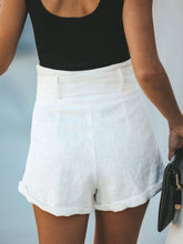 Solid Casual Buttoned Shorts
