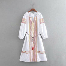 Embroidered Long Sleeves Loose V-neck Button Front Casual Dresses