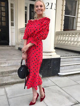 Dovechic Polka-dot Off Shoulder Puff Sleeves Maxi Dress