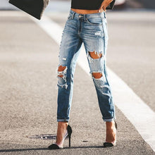 Casual Fashion Roll-up Broken Holes Denim Long Jeans Pants