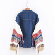 Casual Wool Stitching Sleeve Denim Jacket
