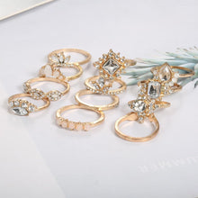 12 PCS Retro Water Drop Diamond Ring
