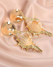 Bohemian Natural Gold-plated Conch  Beach Wind Earrings
