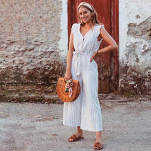 Holiday Striped Wooden Straps jumpsuit