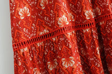 Cotton red flower maxi dress