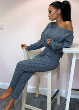 Knit Pantsuit Round Neck Long Sleeve Suit Sets-3color