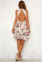 Lace Ruffled Rose Halter Dress