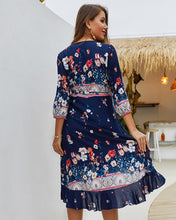 Floral flounce V-neck Bohemian dress