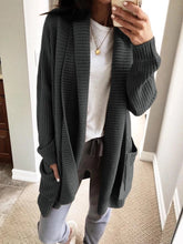 Casual Solid Color Lapel Loose Long-sleeved Knit Cardigan