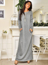 Dovechic Solid Round-neck Long Sleeves Maxi Dress