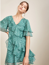 Chiffon Ruffled Print Lotus Leaf Waist V-neck Short-sleeved Dress