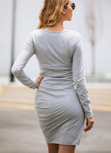 Irregular Long Sleeve Female Bodycon Dress-5color