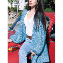 Fashion Casual Puff Sleeve Knit Cardigan