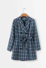 Blue Plaid Double Breasted Tie Blazers