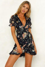 Chiffon Floral Puff Sleeve Holiday Dress