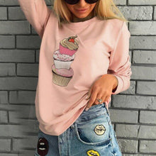 Cake Print Round Neck Long Sleeve Sweatshirt