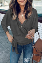 Fashion V-neck Tie Long-sleeve Knit Sweater-3color