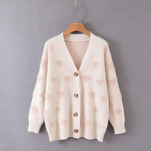 Lazy Wind V-neck Heart-shaped Cardigan Sweater-2color