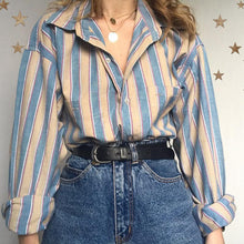 Women's Casual Korean version Striped Long Sleeve Blouse