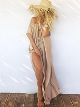 Dovechic Chiffon Off-the-shoulder Split-side Maxi Dresses