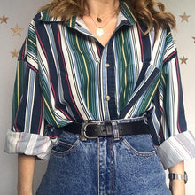 Women's Fashion Striped Single-breasted Loose Blouse