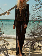 Dovechic Casual Vacation Beach Lace-Up Mask Long Dress Cover-Ups