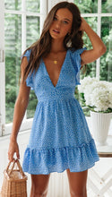 Short Sleeve Blue Polka Dot Tie Dress